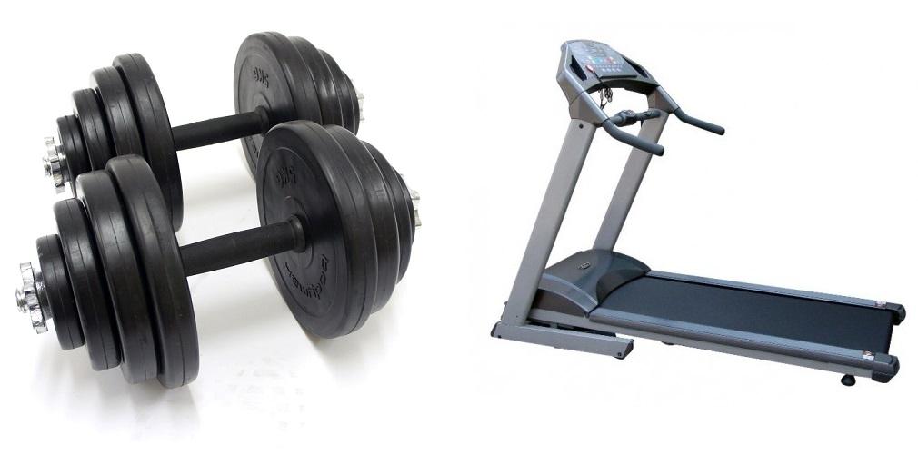 treadmill-dumbbells